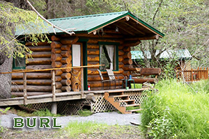 Burl Cabin at Alaska Creekside Cabins in Seward Alaska, Real Alaskan Vacation Cabins