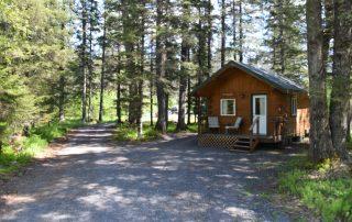Outside Yukon Cabin at Alaska Creekside Cabins Alaska Vacation Destination near Seward, Alaska
