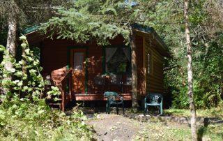 Outside Spring Cabin at Alaska Creekside Cabins Alaska Vacation Destination near Seward, Alaska