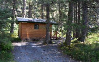 Outside Spruce Cabin at Alaska Creekside Cabins Alaska Vacation Destination near Seward, Alaska