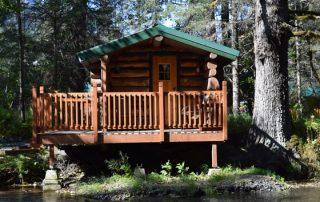 Outside Trapper Cabin at Alaska Creekside Cabins Alaska Vacation Destination near Seward, Alaska